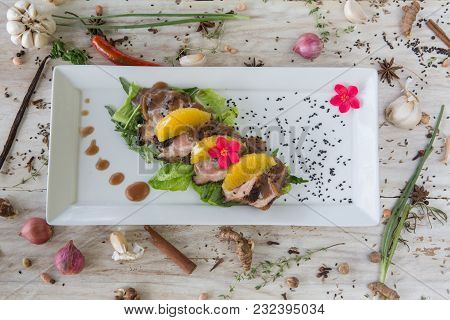 Roasted Duck Breast With Oranges And Orange Sauce Top View