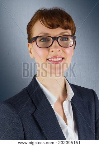 Digital composite of Close up of business woman with glasses against navy background