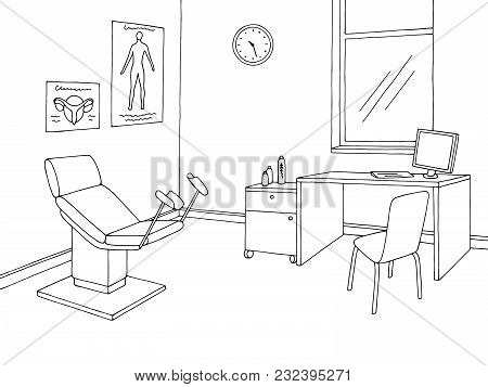 Gynecological Office Clinic Graphic Black White Interior Sketch Illustration Vector