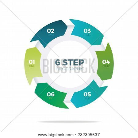 Six Step Circle Infographic On White Background