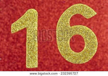 Number Sixteen Golden Color Over A Red Background. Anniversary. Horizontal