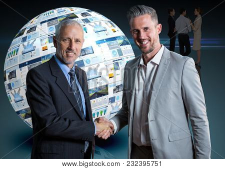 Digital composite of panels with websites in a ball and two business men giving the hand each other