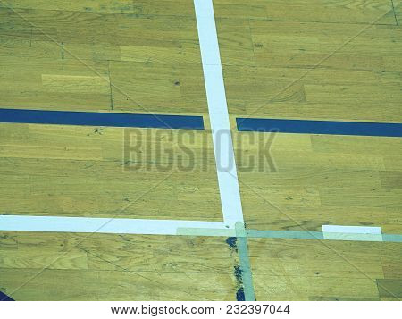 Gym Wood Floor With Playground Lines, Parquet Hardwood In School Court. The Floor Viewed From Above