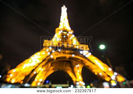 Paris, France - February 16, 2018: Eiffel Tower Light Performance Show In Twilight. Abstract Backgro