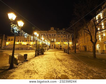 Bielsko-biala, Poland Europe On November 2017: Main Square In Historical City Center With Old Buildi