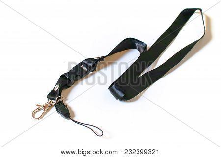 Detail Of A Black Key Lanyard Isolated On White Background.