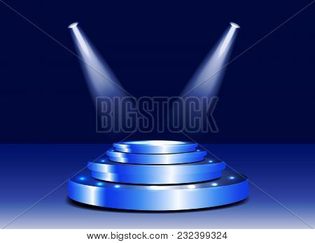 3d Stage Podium With Lighting. Stage Podium Scene With For Award Ceremony On Blue Background. Sparkl