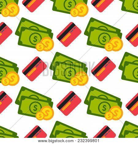 Cartoon Illustration Of Dollar Currency Symbol Vector Pattern Bank Finance Business Seamless Money B