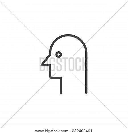Human Head Outline Icon. Linear Style Sign For Mobile Concept And Web Design. Person Profile Simple