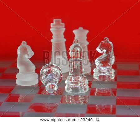 Chess Glass Red Background