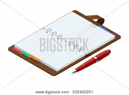 Isometric Open Blank Spiral Notepad Notebook And Red Pen Isolated On White Background. Mock Up For C