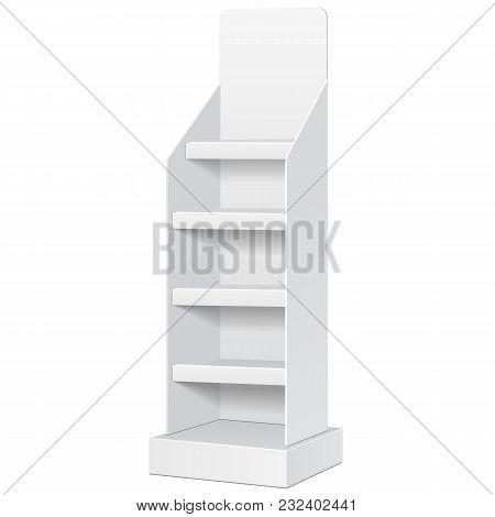 Cardboard Floor Display Rack For Supermarket Blank Empty Displays With Shelves Mock Up. Illustration