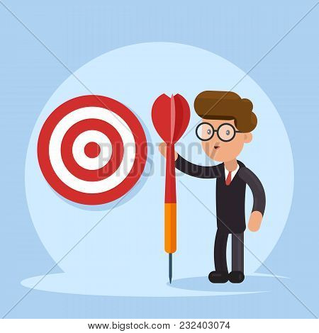 Purpose Business Concept. Purposeful Businessman With Spear In Hand Stands With The Target. Achievem