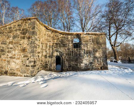 St. Olav's Church Ruins In Bamble, Norway.