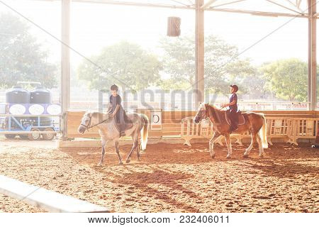 Ber Yakov, Israel - September 21, 2016: Horse Riding Lessons For Kids. The Boys On The Horse
