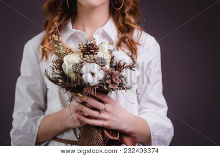 Pretty Bride With Short Hair Holds Bright Red Wedding Bouquet