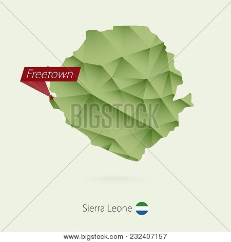 Green Gradient Low Poly Map Of Sierra Leone With Capital Freetown