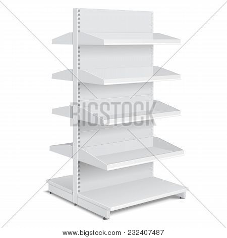 Blank Empty Double Sided Showcase Display With Retail Shelves, Trading Rack. Mock Up, Template. Illu