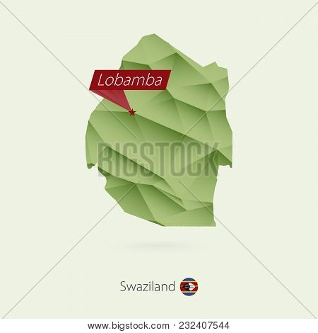Green Gradient Low Poly Map Of Swaziland With Capital Lobamba