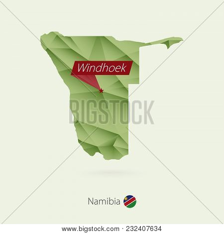 Green Gradient Low Poly Map Of Namibia With Capital Windhoek