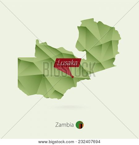 Green Gradient Low Poly Map Of Zambia With Capital Lusaka
