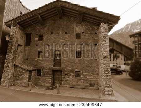 A Typical Medieval Stone Building In A Ski Resort Val-d'isere, Rhone-alpes,  France. Vintage Photo C