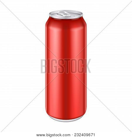 Red Metal Aluminum Beverage Drink Can 500ml, 0, 5l. Mockup Template Ready For Your Design. Isolated