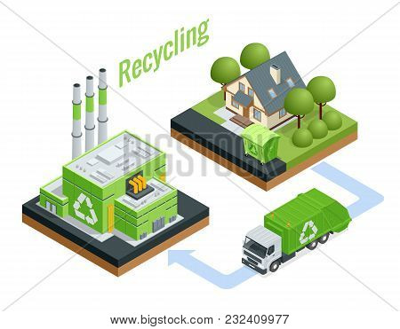 Isometric Waste Processing Plant. Technological Process. Recycling And Storage Of Waste For Further