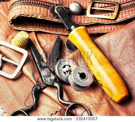 Tools Of A Tanner For Working With Leather