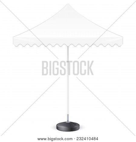 Promotional Square Advertising Outdoor Garden White Umbrella Parasol. Front View. Mock Up, Template.