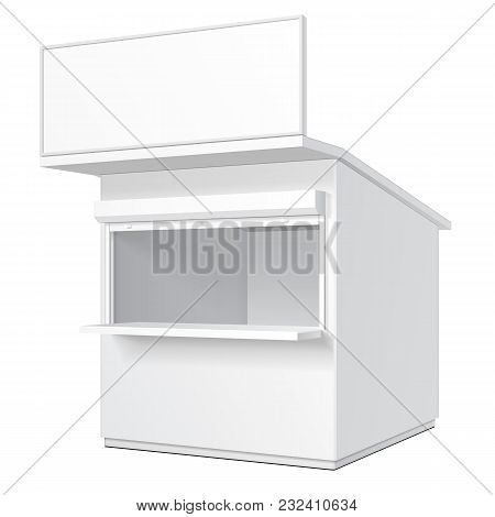Promotional Or Trade Outdoor Kiosk, Stand, Newsstand. Open-fronted Hut Or Cubicle. Mock Up, Template