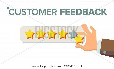 Customer Giving Rating Vector. Five Star Rating. Review Concept. Isolated Flat Illustration