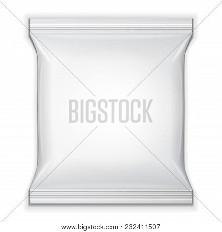 Blank Foil Food Snack Sachet Bag Packaging For Sweets, Chips, Cookies Or Candy. Mock Up Template. Il