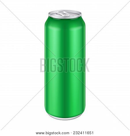 Green Metal Aluminum Beverage Drink Can 500ml, 0, 5l. Mockup Template Ready For Your Design. Isolate