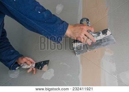 Plasterer Works Plastering Two Trowels Plasterboard Blue Uniform