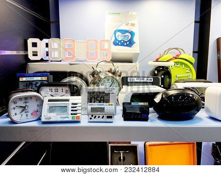 Rishon Le Zion, Israel- December 17, 2017: Several Bright Colored Traditional Alarm Clocks Stand On