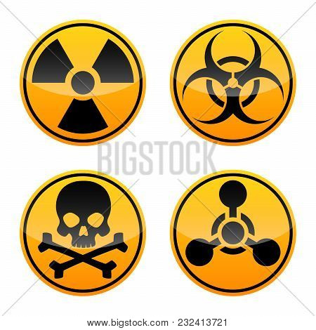 Danger Vector Sign Set. Radiation Sign, Biohazard Sign, Toxic Sign, Chemical Weapons Sign. Warning S