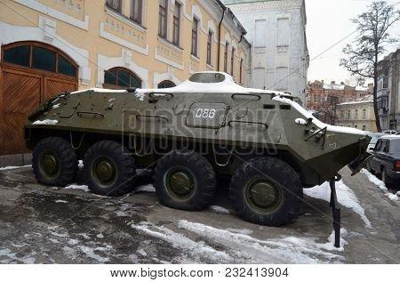 Vintage Soviet military transport. Museum of the History of Chernobyl Disaster. Exterior. March 20, 2018 in Kiev,Ukraine
