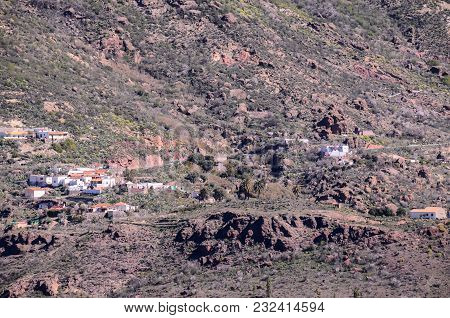 Mountain Village At The Spanish Canary Islands.