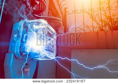 Watt Hour Meter With Electricity Short Circuit Danger Of Overuse Power In Household
