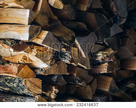 Preparing For Winter And Making Cold Season Warmer Concept: Stack Of Firewood As A Graphic Resource
