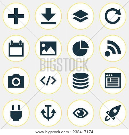 User Icons Set With Reload, Code, Database And Other Downloading Elements. Isolated Vector Illustrat