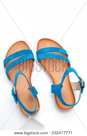 stylish, comfortable, blue women sandals on a white background