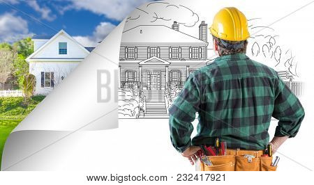 Contractor Facing House Drawing with Page Corner Flipping to Photo Behind.
