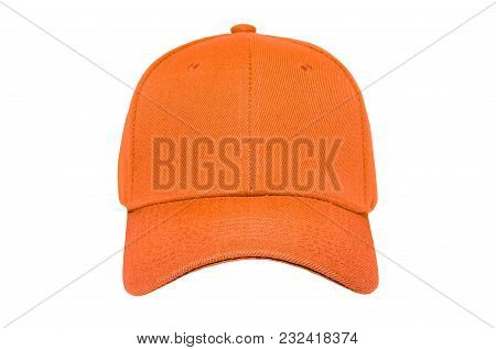 Baseball Cap Color Orange Close-up Of Front View On White Background