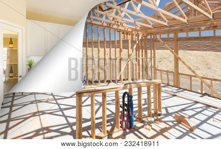 Kitchen Construction Framing with Page Corner Flipping to Completed Photo.