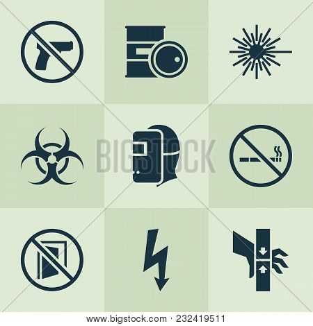 Sign Icons Set With Bio-hazard, No Smoking, Welder And Other Injury Elements. Isolated  Illustration