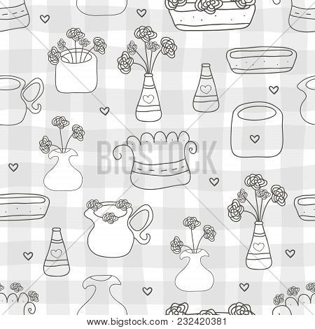 Seamless Pattern With Cute Vintage Flowers. Vector Background.