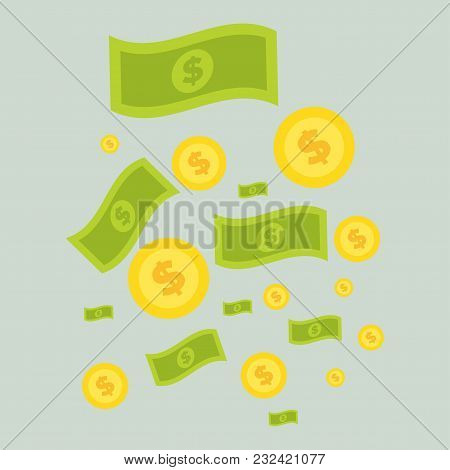 Money Icon Set. Collection Of Stacked Pile Of Dollars Cash And Gold Coins. American Banknotes In Mod