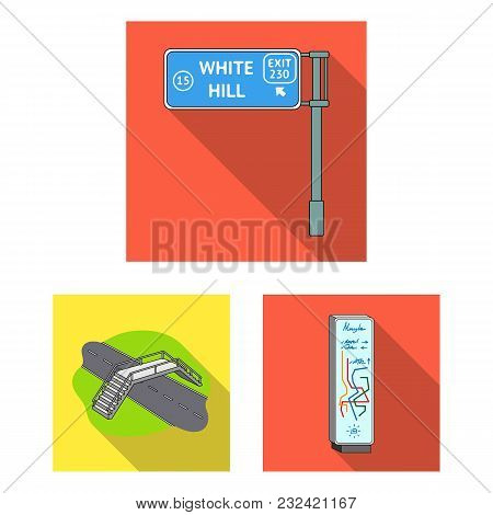 Road Junctions And Signs And Other  Icon In Flat Style.pedestrian Crossings And Signs Icons In Set C